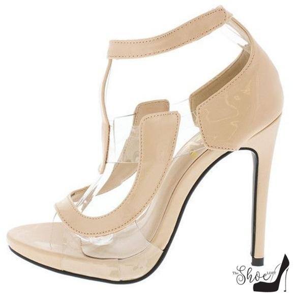 The Shoe Loft Shoes - Amanda Nude Patent Leather & Lucite Open Toe Heels